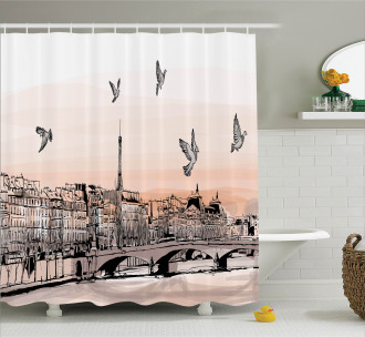 Sketch of Eiffel Tower Shower Curtain