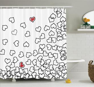 Wedding Heart Shape Shower Curtain