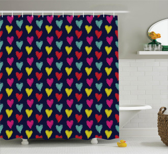 Hearts Love Happy Shower Curtain