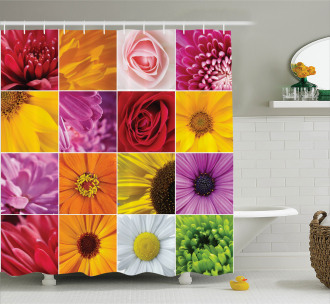 Colorful Flowers Rose Shower Curtain
