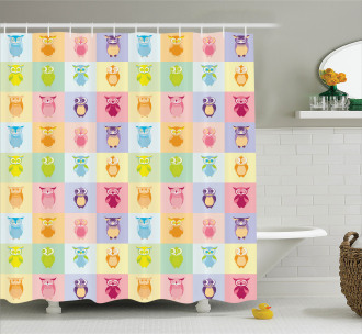 Colorful Cute Owl Kids Shower Curtain