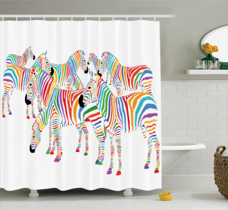 Colorful Animals Cute Shower Curtain