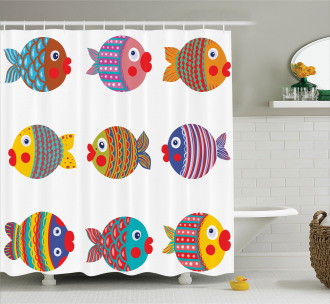 Folkloric Fish Family Shower Curtain