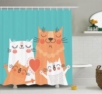 Cute Kitty Couple Happy Shower Curtain