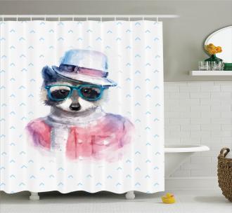 Retro Hipster Raccoon Shower Curtain