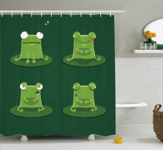 Frogs in Pond Lily Pad Shower Curtain