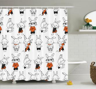 Cute Retro Bunny Rabbits Shower Curtain