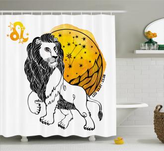 Zodiac Leo Symbol Art Shower Curtain