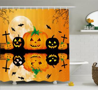 Scary Pumpkin Shower Curtain