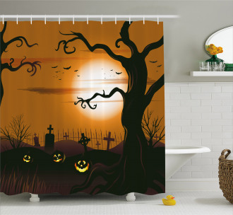 Scary Cemetery Shower Curtain