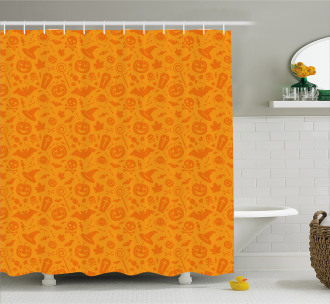 Halloween Pumpkin Skull Shower Curtain