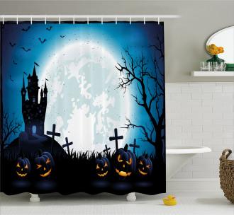 Moon Pumpkins Shower Curtain