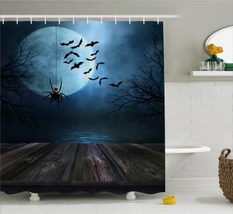 Lake Scene Bat Shower Curtain