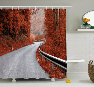 Dreamy Road Travel Theme Shower Curtain