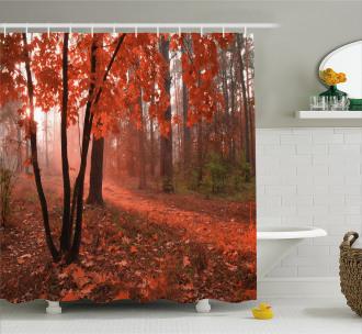 Misty Forest Leaves Orange Shower Curtain