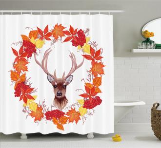 Autumn Leaves Wreath Art Shower Curtain