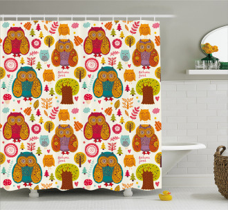 Colorful Owl Woodland Animals Shower Curtain