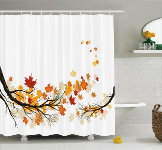 Autumn Tree Branches Shower Curtain