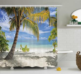 Palm Trees Coastline Shower Curtain