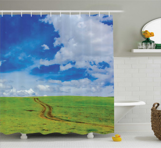 Path in Meadow Rural Shower Curtain