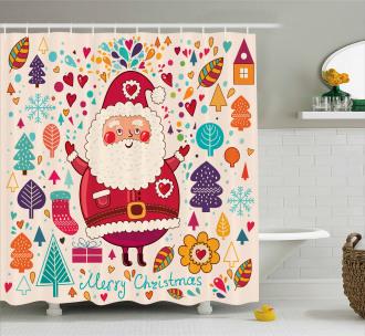Vintage Santa Artsy Shower Curtain