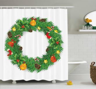 Evergreen Wreath Art Shower Curtain