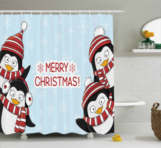 Cute Penguins Kids Shower Curtain