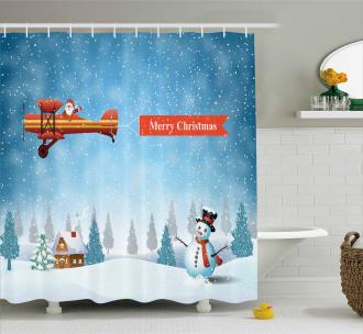 Santa Plane Snowman Shower Curtain