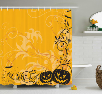Pumpkins Bats Halloween Shower Curtain