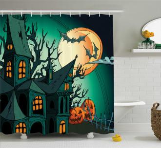 Halloween Haunted Castle Shower Curtain