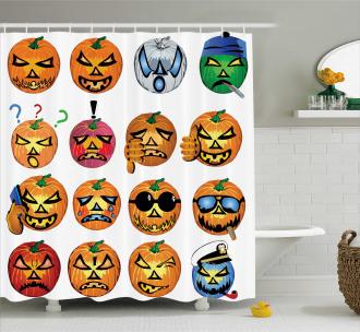 Pumpkin Emoji Shower Curtain