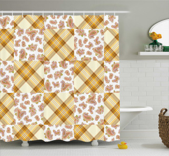 Retro Patchwork Shower Curtain