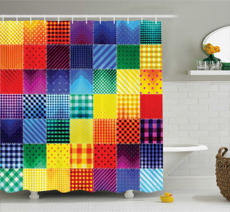 Rainbow Retro Patchwork Shower Curtain