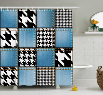 Denim Patchwork Shower Curtain