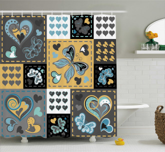 Butterfly Heart Retro Shower Curtain