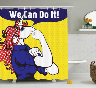 Unicorn with Polka Dot Shower Curtain