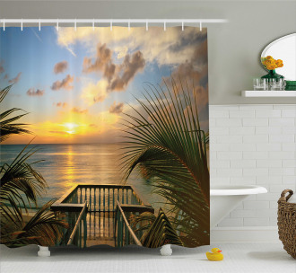 Palms Sunset Scenery Shower Curtain