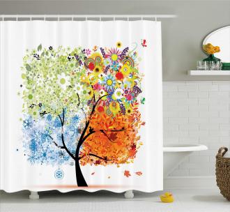 Flowers Four Season Theme Shower Curtain