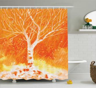Leafless Tree Autumn Shower Curtain