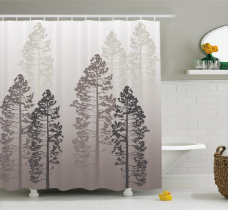 Wild Pine Forest Themed Shower Curtain