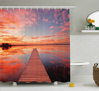 Pathway Sunset at Ocean Shower Curtain