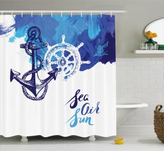 Nautical Wheel Ocean Shower Curtain
