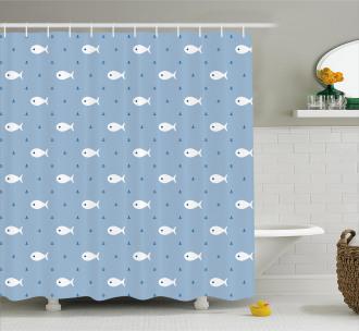 Little Fish Aquatic Life Shower Curtain