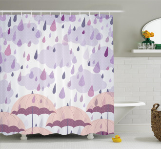 Pink Umbrellas Rain Shower Curtain