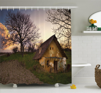 Battered Stone House Shower Curtain