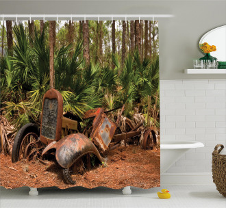 Tropical Forest Palms Shower Curtain