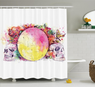 Ornate Skeletons Colorful Shower Curtain