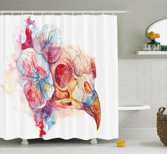 Colorful Raven Head Floral Shower Curtain