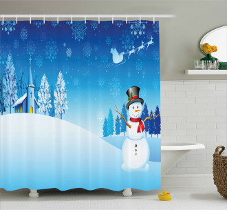 Snowman Winter Stars Shower Curtain