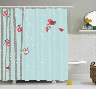 Cute Red Bird Winter Shower Curtain